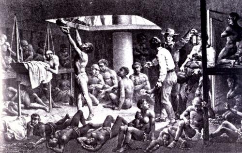 Esclaves en fond de calle d'un navire négrier en 1827