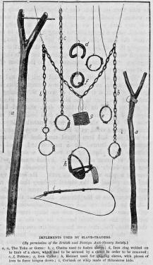 Chaînes et instruments employés par les commerçants d'esclaves  au 19e siècle