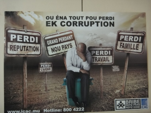 Affiche anti-corruption à Maurice