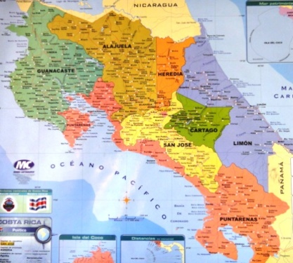 La carte du Costa Rica