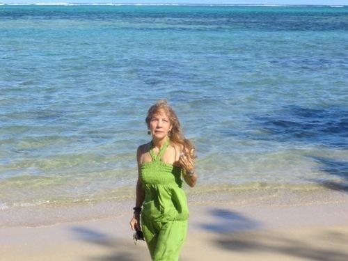 La plage -très ventée- de  Bel Ombre (Maurice)